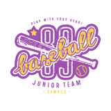 Emblem of baseball junior team. Graphic design with lettering for t-shirt. Color print on white background Stock Photo