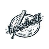 Emblem of baseball junior team. Graphic design for t-shirt. Black print on white background Stock Image