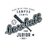 Emblem of baseball junior team. Graphic design for t-shirt. Black print on white background Stock Images