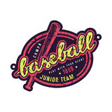 Emblem of baseball junior team. Graphic design for t-shirt and sticker. Color print on white background Royalty Free Stock Photography