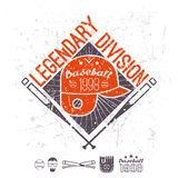 Emblem baseball legendary division of college Stock Images