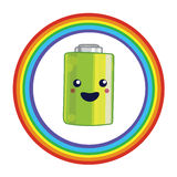 Emblem for battery recycling. Illustration for battery recycling with kawaii battery and rainbow Stock Image