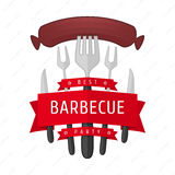 Emblem BBQ vector. Barbecue party logo. Vector illustrations BBQ , fried sausage on a fork . Accessories BBQ , in the form of the logo for your posters Royalty Free Stock Images