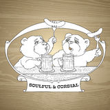 Emblem with  bear, beer, sausage and words soulful and cordial. Vector illustration of Two bears in friendly conversation over a beer.  Emblem with  bear, beer Stock Photos