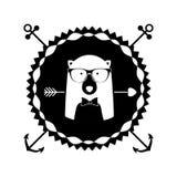 Emblem bear hipster hunter city icon. Illustration image Royalty Free Stock Images