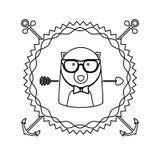 Emblem bear hipster hunter city icon. Illustration image Stock Photo