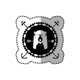 Emblem bear hipster hunter city icon. Illustration image Royalty Free Stock Photo