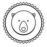 Emblem bear hunter city icon. Illustration image Royalty Free Stock Images