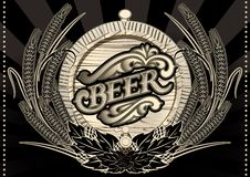 Emblem beer barrel and barley for menu Royalty Free Stock Photography