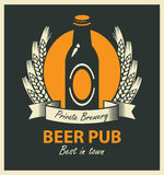 Emblem for beer pub with bottle and wheat ears Stock Photos