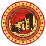 Emblem with big truck. Stock Photography