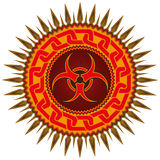Emblem with biohazard sign. Royalty Free Stock Photography