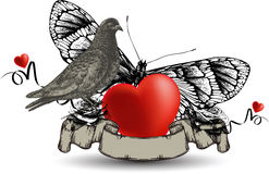 Emblem with bird dove and heart, a butterfly and r Stock Photography