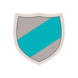 Emblem with blue line in center. Vector illustration Royalty Free Stock Photos