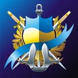 Emblem with blue ribbon Royalty Free Stock Photos