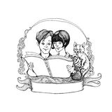 Emblem, a boy and a girl reading a book Royalty Free Stock Images