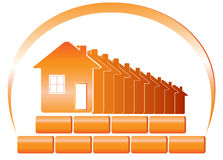 Emblem of building. Red emblem of the building company and sun with houses, bricks vector illustration