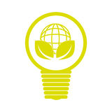 Emblem with bulb light with world map and leaves Royalty Free Stock Photography