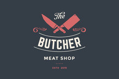 Emblem of Butcher meat shop with Cleaver and Chefs knives vector illustration