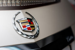 Emblem of Cadillac company on car at daytime Stock Images