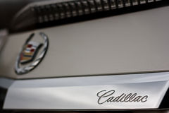 Emblem of Cadillac company on car at daytime Royalty Free Stock Photography