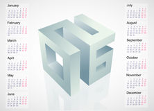 2016 emblem with calendar schedule. Calendar 2016 leap year template design with 3D emblem Royalty Free Stock Image