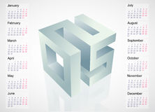 2015 emblem with calendar schedule. Calendar 2015 template design with 3D emblem. EPS-10 file Royalty Free Illustration
