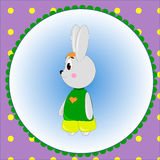 Emblem card with cute cartoon Bunny Royalty Free Stock Photography