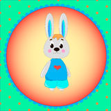 Emblem card with cute cartoon Bunny Royalty Free Stock Photo