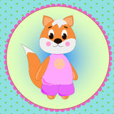 Emblem card with cute cartoon Fox Stock Photos