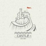 Emblem castle on a mountain. Stylized image of a castle on the mountain Stock Image