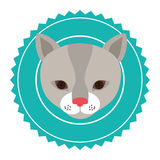 Emblem cat hunter city icon. Illustration image Stock Photos