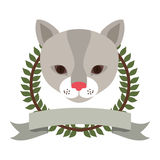 Emblem cat hunter city icon. Illustration image Stock Image