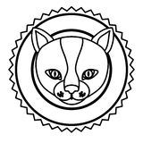 Emblem cat hunter city icon. Illustration image Royalty Free Stock Photography