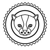 Emblem cat hunter city icon. Illustration image Royalty Free Stock Images