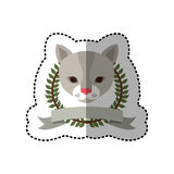 Emblem cat hunter city icon. Illustration image Stock Photo