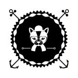 Emblem cat hunter hipster city icon. Illustration Royalty Free Stock Photo