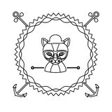 Emblem cat hunter hipster city icon. Illustration Royalty Free Stock Images
