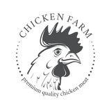 Emblem with Chicken head. Vector Illustration Stock Images