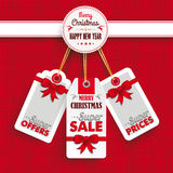 Emblem Christmas Price Stickers Knit Stock Photo