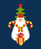 Emblem of Christmas: Santa Claus and gift. Mint sweet sticks. Ag Royalty Free Stock Photos