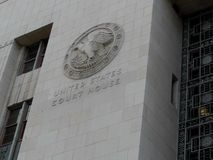 The United States Court House in Los Angeles, California Emblem. The Emblem on the City of Los Angeles Court House shows the Eagle as it`s symbol. This building royalty free stock photography