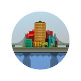 Emblem of the city. Vector illustration round emblem of the city with a bridge on the river Stock Images