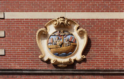 Emblem (coat of arms) of guard on the guard house, Amsterdam. Ne Stock Photo