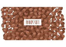 Emblem coffee with coffee beans Royalty Free Stock Photos
