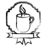 emblem coffee cup with ribbon icon Royalty Free Stock Photography