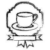 emblem coffee cup with ribbon icon Royalty Free Stock Image