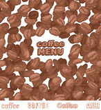 Emblem coffee menu with coffee beans Royalty Free Stock Photography