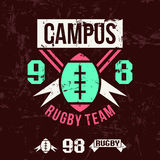 Emblem of the college rugby team Stock Photos