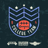 Emblem of the college rugby team Royalty Free Stock Photos